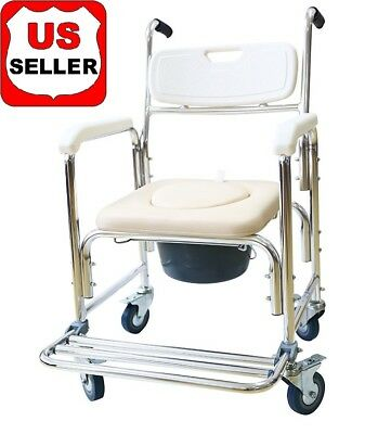 3-in-1 LUXURY COMMODE TOILET & SHOWER CHAIR WHEEL 4-Brake Footrest Bedside Potty