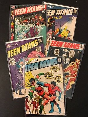 Silver Age Teen Titans DC comic lot-Kid Flash, Wonder Girl, Aqualad, Robin