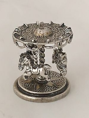 Solid Silver Miniature Merry Go Round For Dollhouse