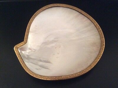 Antique Gilt Bronze Mother of Pearl Shell Caviar Pin Trinket Dish French English