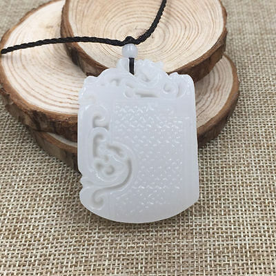 Fashion China Hand-carved Dragon 100% Natural White Jade Pendant Necklace