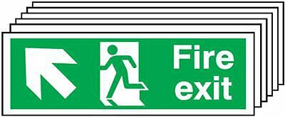 "Signs and Labels AMZ6PFX04511R ""Fire Exit Running Man Arrow Up L"" Safe Condition"