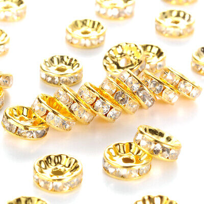 100pcs Brass Paved Rhinestone Metal Beads Rondelle Gold Tone Loose Spacers 10mm