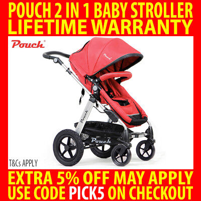 Pouch 2 In 1 Baby Toddler Pram Stroller Jogger Aluminium With Bassinet Red