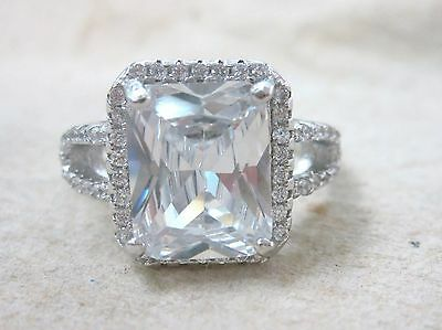 925 STAMPED - REAL Sterling Silver Clear ASCHER CZ Engagement Ring sz L N P