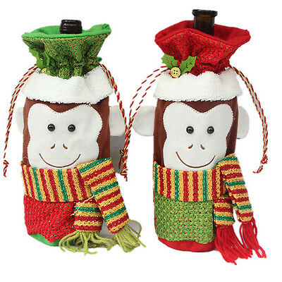 Wine Bottle Cover Bags Cute Monkey Pattern Christmas Dinner Table Supplies   IO