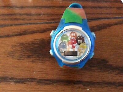 m&m flashing led watch in blue strap multicolor new
