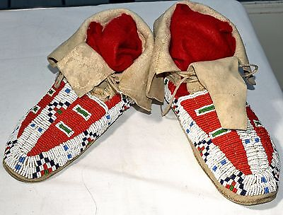 Native American Plains Indian Beaded Leather Moccasins