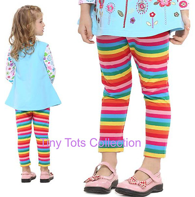 NEW with tags BNWT girls rainbow leggings pants 3/4 length size 2 3 4 5 6 7