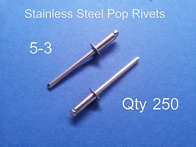 """250 POP RIVETS STAINLESS STEEL BLIND DOME 5-3 4mm x 8.6mm 5/32"""""""