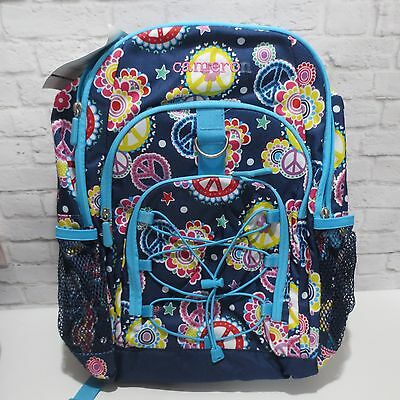 3e67a511b0 Pottery Barn Teen GEAR-UP Large Backpack Navy Blue Floral heart star PEACE   read