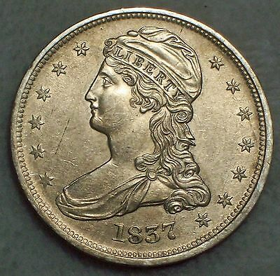 1837 SILVER Half Dollar Reeded XF+ AU Detailing RARE Rotated Rev Authentic 50C