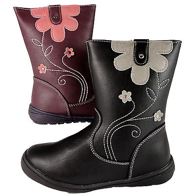 Girls faux  leather Boots Black Purple 3/4 Ankle Floral  Design Chatterbox brand