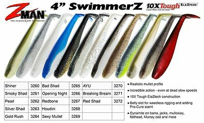 "Zman 4"" Swimmerz 4pk (z-man soft plastic lures z man swimmers)"