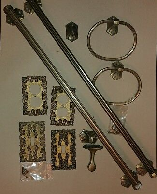 Vintage Lot of Brass Bathroom Fixtures Towel Bars Outlet Switch Plate Covers ex