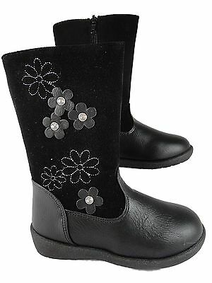 Girls Infant Black Long leg Boots FAUX LEATHER Floral Design Chatterbox Quality