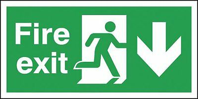 "Signs and Labels AMZ6PFX04211R ""Fire Exit Running Man Arrow Down"" Safe Condition"