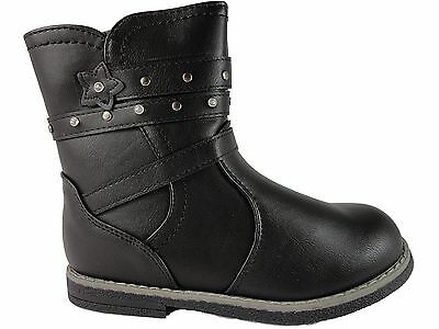 Girls Infants Black Ankle zip boots cowboy Chatterbox stud straps design lucy