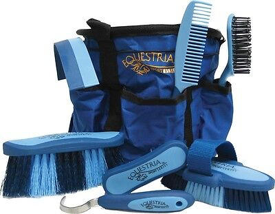 Horse Grooming Set Blue Includes Matching Grooming Tote Body Brush High Quality