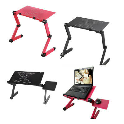 Adjustable Foldable Aluminum 14'' 18'' Laptop Desk Bed Table Stand Riser Tablet