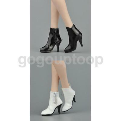 "Black & White 1/6 Zipped Ankle Boots Shoes for 12"" Hot Toys Phicen Kumik Female"