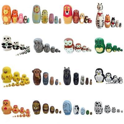 Wooden Russian Nesting Matryoshka 5, 6 Or 10 Dolls Set Hand Painted Animals Toys