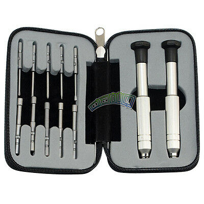 Screwdriver Set 12 Pcs Precision Eyeglass Jewelry Watch Clock Repair Tool Case