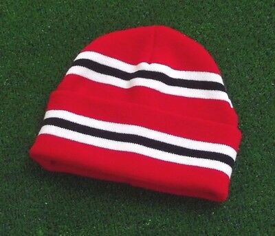 Manchester United Colours Retro Bar Hat - Red,White & Black - Made in UK