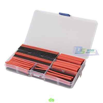 150Pcs Red Black Heat Shrink Electrical Wire Cable Tube Sleeving Wrap Set Box