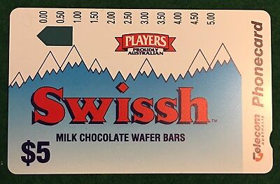 No Holes - $5 Telecom Players Swissh Chocolate Wafers Phonecard