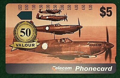 NO HOLES - $5 TELECOM VALOUR Phonecard Commemorating 50 Years End Of WWII