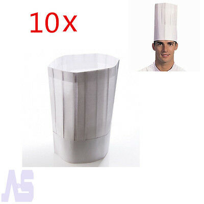 10 Packs White Paper Tall Hats Restaurant Disposable Chef hat Caps Adjustable