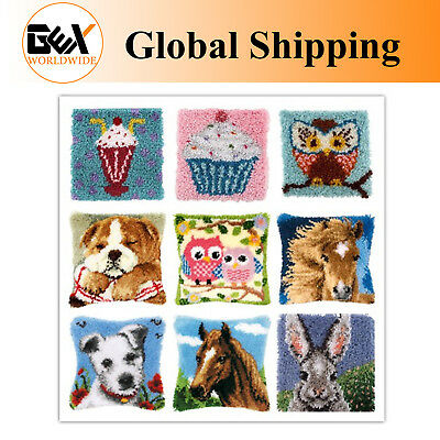 GEX Latch Hook Rug Kit Cushion Cover About 16''  DIY Craft Needle Embroidery