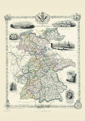 Vintage John Tallis Map of Germany 1851 Poster with Size & Finish Options