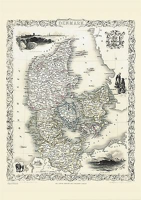 Vintage John Tallis Map of Denmark 1851 Poster with Size & Finish Options