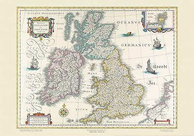 Vintage British Isles World Map Willem & Johan Blaeu 17th Century with Options