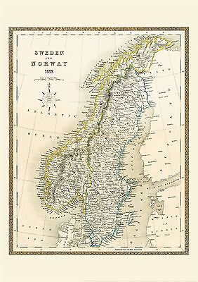 Vintage John Tallis Map of Sweden and Norway 1852 with Size & Finish Options