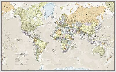 Classic World Map Poster Print Art Map for Office, Choose Size Finish
