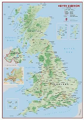 Primary UK Wall Map Physical Poster Print Art Map, Choose Size Finish