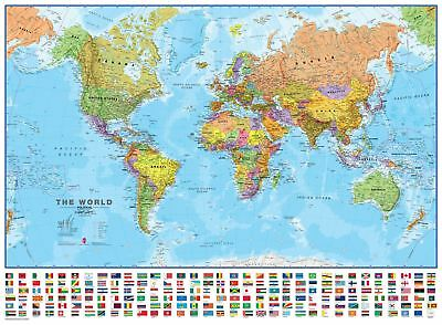 World Wall Map Political Poster with Flags Poster with Size & Finish Options