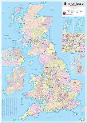 British Isles Administrative Map Poster for Office with Size & Finish Options