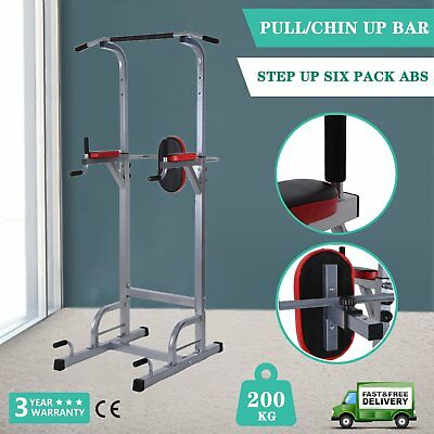 Fitness Knee Raise Power Tower Chin Up Push Pull Dip Station Home Gym New IP OK