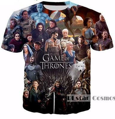 New Fashion Women/Mens Game of Thrones 3D Print Casual T-Shirt XU180