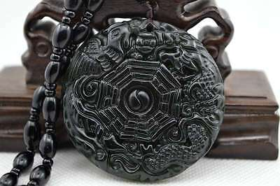 Natural Dark green Hand-carved Chinese Jade Pendant Free Necklace Dragon Phoenix