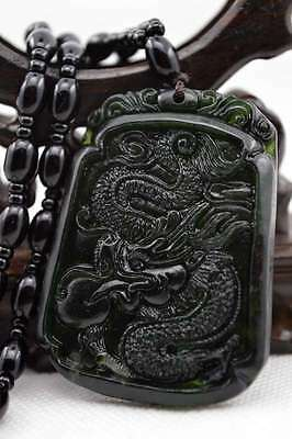 Natural Dark green Hand-carved Chinese Jade Pendant - Dragon-Free Necklace