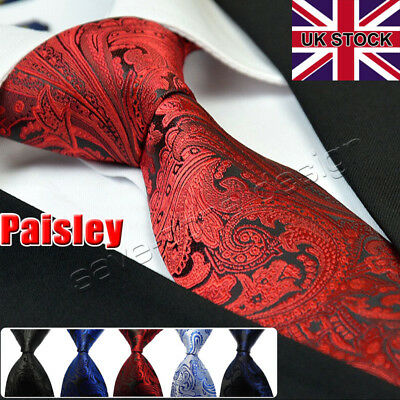100% Silk Paisley Floral Men Wide Tie Satin Wedding Party Business Gift UK