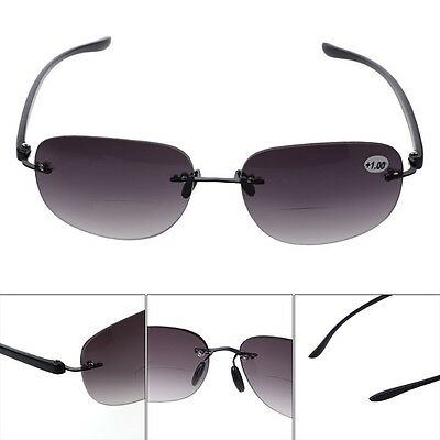 Outdoor Rimless Fishing Bifocal Reading Glasses Sunglasses +1.0 To +3.5