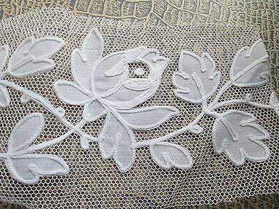 Antique embroidered lace Carrickmacross white cotton/France