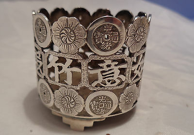 Rare Antique Chinese Wang Hing & Co Solid Silver Salt Pot, Stamped ' Wh ' ' 90 '