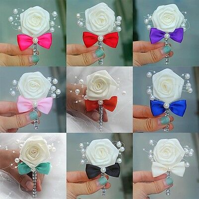 Corsage Wrist Flowers Boutonniere Silk Bridal Roses Pearl Favors Prom Pin